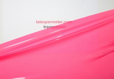 1/2 meter latex Transparant-Hot-Pink 0.40 mm, 1m breed, LPM