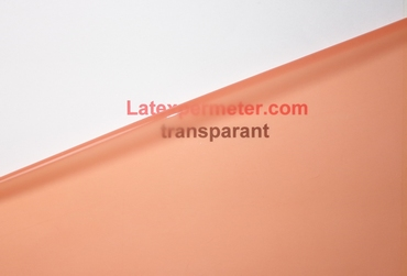 Latex Transparant-Zalm Roze, per meter, 0.40mm. LPM