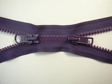 Zipper, purple, double divisible, 40 cm.