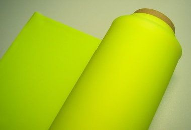 Latex fluor-geel/yellow per halve meter, 0.38mm,92cm breed